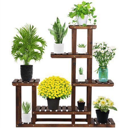 Patio Garden Flower Stands Wooden Flowers Wooden Plant Stands