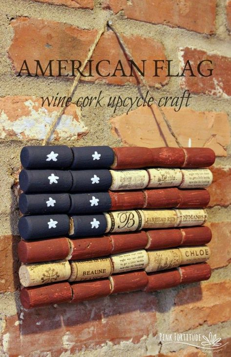 American Flag Wine Cork Upcycle Craft- Fourth of July crafts for seniors upcycled crafts 15 Easy of July Crafts to Sell For Crazy Extra Cash Wine Craft, Wine Cork Crafts, Wine Bottle Crafts, Mason Jar Crafts, Mason Jar Diy, Patriotic Crafts, July Crafts, Gift Crafts, Patriotic Party