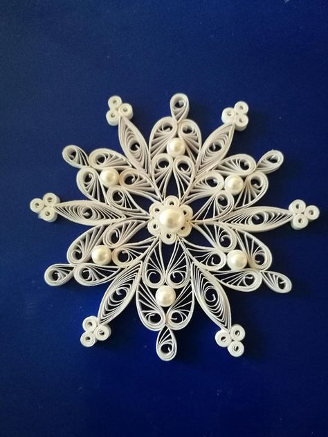 Set of 3 quilled snowflakes Christmas tree ornament Paper