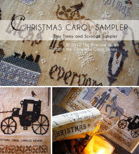 Christmas Carol Sampler Third Pattern In By Theprimitivehare Punto De Cruz Navidad Puntos