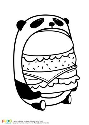 Le Burger Du Panda En Mode Kawaii Cute Animal Drawings Kawaii Cute Kawaii Drawings Cute Panda Drawing