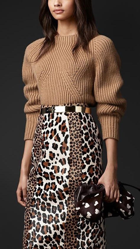 Burberry Prorsum Sculptural Cashmere Sweater with a remarkable leopard print skirt.