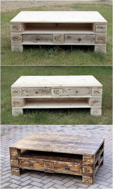 This is much an innovative piece of wood pallet table creation that would make you fall in love with it. This table creation is basically a set that is shape in amazing blends of drawers coverage all into it. It can even be used as coffee table piece. Try it now!