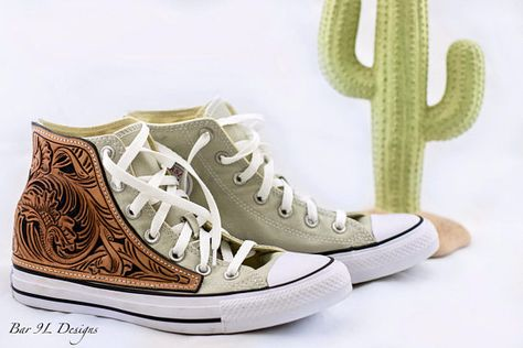 c93245d0b4d84a Custom hand tooled leather Converse Chuck Taylor Hi-Top Sneakers made to  order. Fully customizable with ability to add initials