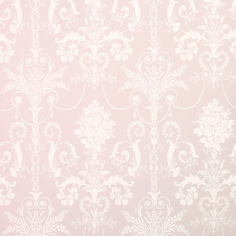 """""""Josette"""" wallpaper in amethyst pink with white Rococo damask scrolls from Laura Ashley."""