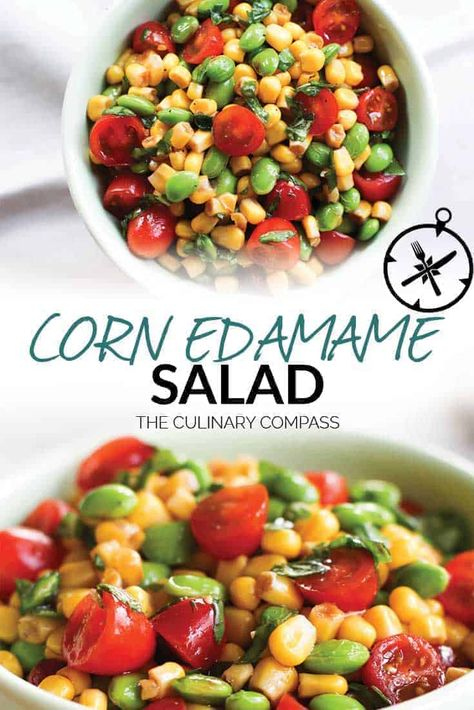 This Corn Edamame Salad is a great side dish for warm days since there is no cooking involved! Use fresh basil, edamame, and sweet corn to make a great summer salad. #cornedamamesalad #edamamesalad