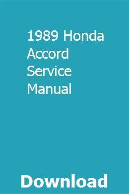 1989 Honda Accord Service Manual Owners Manuals Repair Manuals Toyota Avensis