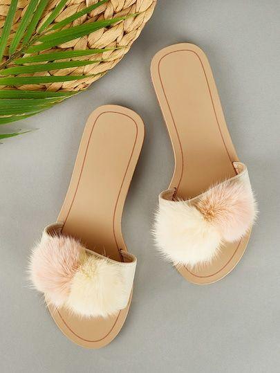 Pom Pom Decor SlippersFor Women-romwe