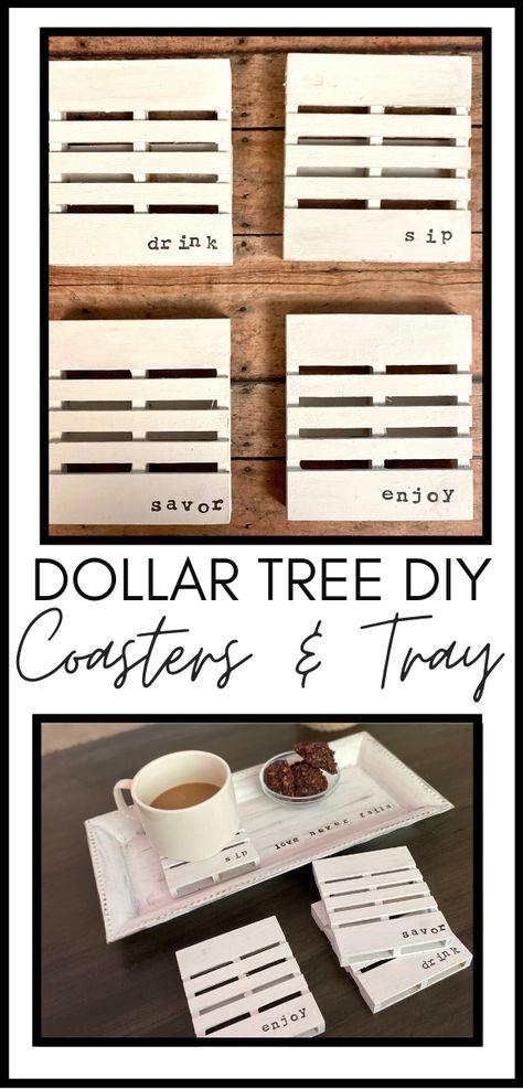 Easy Dollar Tree DIY: Farmhouse Coasters and Trays