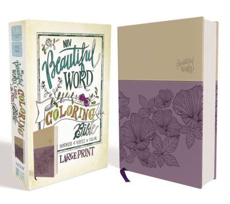 Niv Beautiful Word Coloring Bible Large Print Imitation Leather Purple Tan Bible Coloring Beautiful Words Large Prints