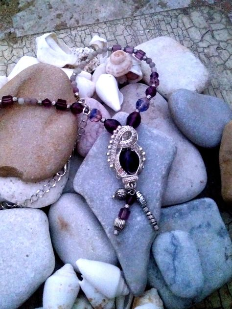Iridescent New Age Necklace Blue Glass Pendant Necklace Silver Crochet Choker Crystal Bead Woven Choker
