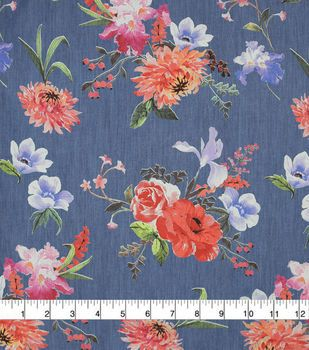 Blue Mum Iris Floral Cotton Denim Fabric Fabric Blue Mums Denim Fabric