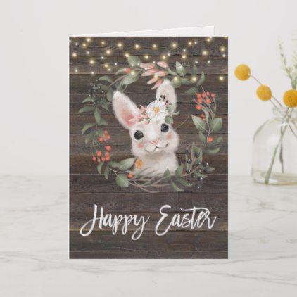 Modern Floral Happy Easter Card Cute Bunny Zazzle Com Happy