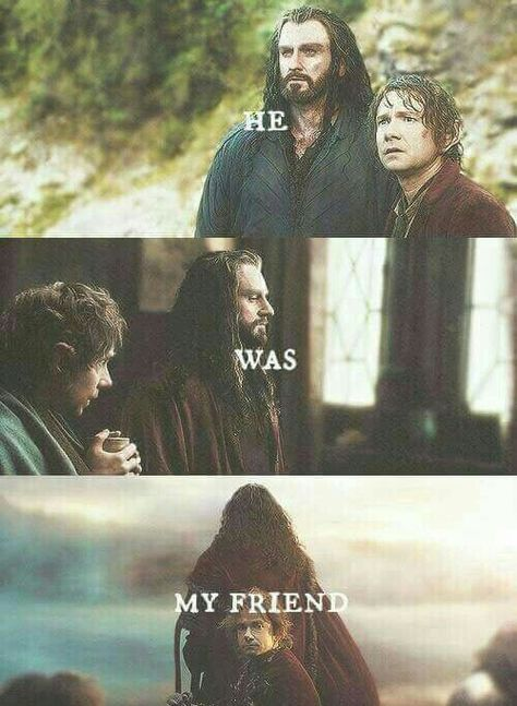 "Bilbo & Thorin - ""He was my friend."" Such a sad and touching part in the film (one of many!) when Bilbo said that at the end of his journey in The Hobbit Legolas, Tauriel, Le Hobbit Thorin, Bilbo Baggins, Thorin Oakenshield, Aragorn, Kili, Jrr Tolkien, Fellowship Of The Ring"