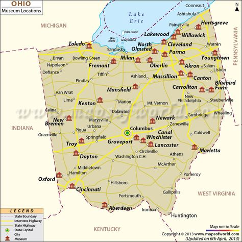 Ohio Museums Map Maps Pinterest Ohio Museums and Ohio usa