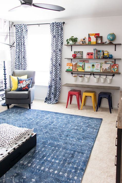 This boy's room makeover turns a two-tone blue room into a super hero theme room with a city skyline wall mural, and includes a reading nook and craft desk. Big Boy Bedrooms, Boys Bedroom Decor, Childs Bedroom, Girl Rooms, Diy Boy Room, Curtains For Boys Room, Ideas For Boys Bedrooms, Kids Room Rugs, Rooms For Boys