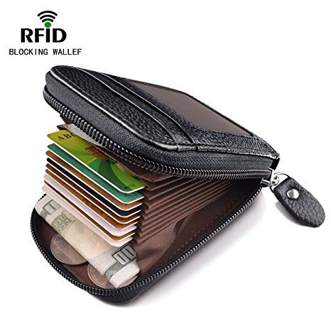 Men Women/'s RFID Blocking Credit Card Holder Leather Compact Accordion Wallet
