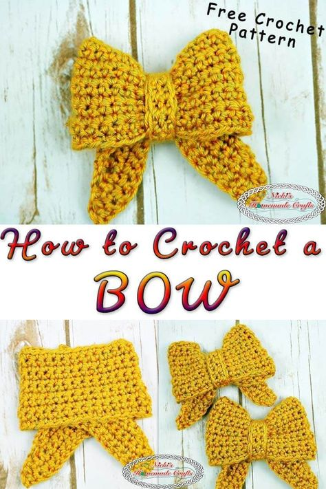 Learn how to crochet a bow with one color using this free crochet pattern plus video tutorial. #crochet #pattern #free #freecrochetpattern #christmas #holly #color #gold #advent #adventwreath #wreath #bow #DIY #DIYideas #decor #home #house #yellow #video #tutorial