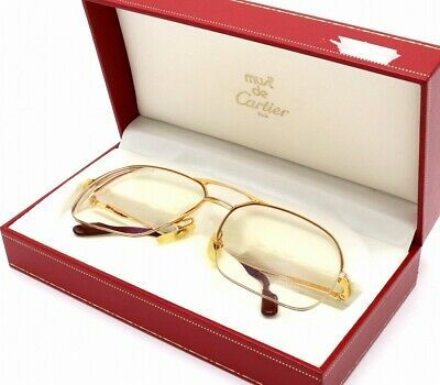 Auth Cartier Glasses Eyeglasses Trinity Half Frame Gold Brown Prescription Lens In 2020 Prescription Lenses Glasses Brown Gold