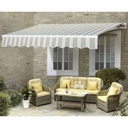 12 Ft W X 10 Ft D Fabric Retractable Standard Patio Awning Patio Awning Retractable Awning Outdoor Furniture Sets