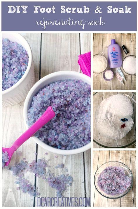Lavender Foot Soak DIY Perfect for Aching Feet! - Dear Creatives <br> Beauty Tips : Lavender Foot Soak DIY Homemade Foot Soaks, Diy Foot Soak, Homemade Foot Scrubs, Homemade Beauty, Diy Beauty, Beauty Hacks, Beauty Skin, Beauty Care, Beauty Secrets