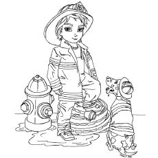 Girl Firefighter coloring page | Free Printable Coloring Pages | 230x230
