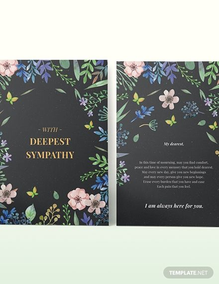 Floral Sympathy Card Template Word Doc Psd Apple Mac Pages Illustrator Publisher Sympathy Cards Card Template Sympathy