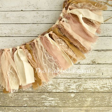 Country Chic ~ Vintage Shabby Burlap Chiffon Lace Rag Tie Banner Bunting Photography Backdrop Garland Party Decor Birthday Nursery Ribbon by ThePickledPeanut on Etsy