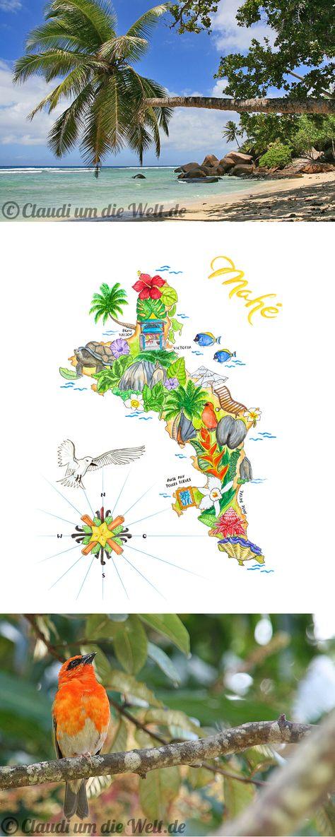 Seychellen Insel Mahe Illustrierte Landkarte Seychellen Insel