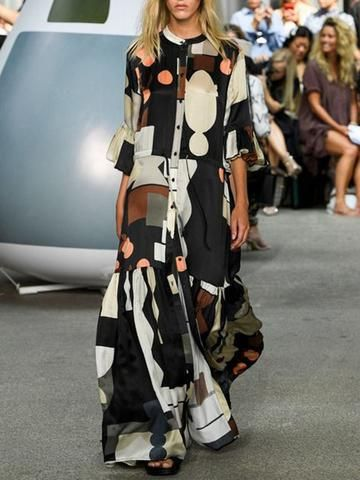Material: Polyester Silhouette: A-Line Dress Length: Floor-Length Sleeve Length: Three-Quarter Sleeve Sleeve Type: Flare Sleeve...