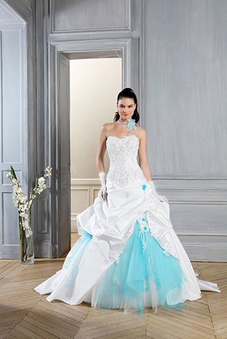 Robe Mariage Blanche Et Bleu Robe De Mariee Turquoise En