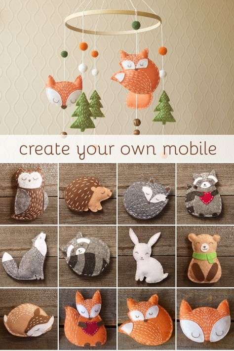 Felt Crafts Diy, Baby Crafts, Diy Crafts For Kids, Felt Fox, Felt Baby, Owl Felt, Felt Christmas, Christmas Crafts, Baby Mobile Felt