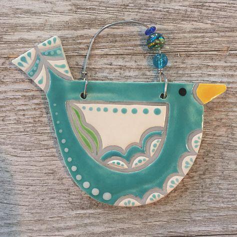 ceramic bird ornament  handmade  indoor/outdoor wall hanging