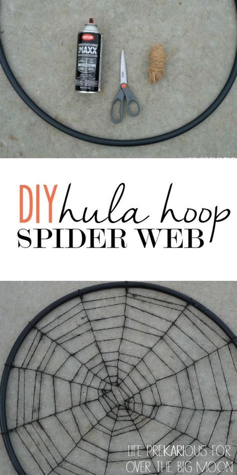 halloween decorations Create this awesome DIY Spider Web using just a Hula Hoop, Twine and some Spray Paint! This makes a perfect indoor or outdoor decoration during Halloween! Halloween Tags, Camping Halloween, Halloween Birthday, Easy Halloween, Holidays Halloween, Dollar Store Halloween, Halloween Crafts, Spider Webs Halloween, Spider Web Costume