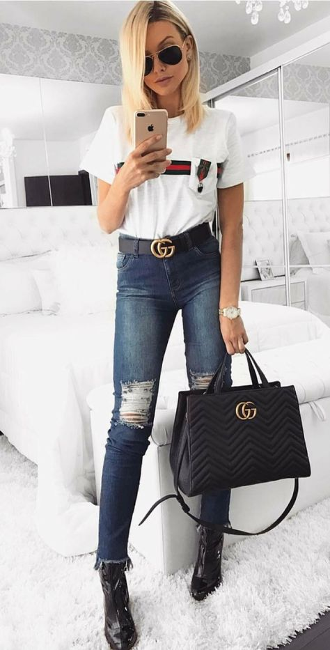 72d8ce5c72f4 Coveting  Gold Hardware - Gucci  GG Marmont  Bag    Gucci  Double G  Buckle  Belt    Lioness White Blazer    Topshop Black Jeans    T b…