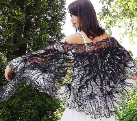 Black & White handmade shawl  crazy wool technique от crazywoolLT, $98.00