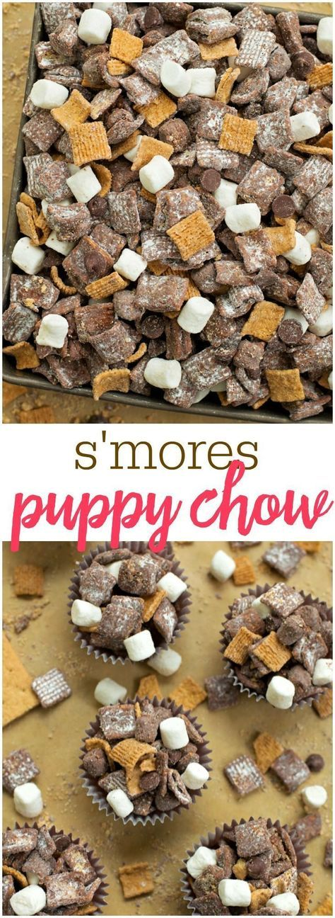Muddy Buddies S'mores Puppy Chow - filled with chocolate, golden grahams and marshmallows - one of the best treats you'll make!S'mores Puppy Chow - filled with chocolate, golden grahams and marshmallows - one of the best treats you'll make! Puppy Chow Recipes, Snack Mix Recipes, Yummy Snacks, Delicious Desserts, Yummy Food, Tasty, Chex Recipes, Party Recipes, Rice Recipes