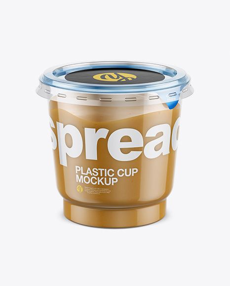 Free Psd Mockup Clear Plastic Cup With Peanut Butter Mockup High