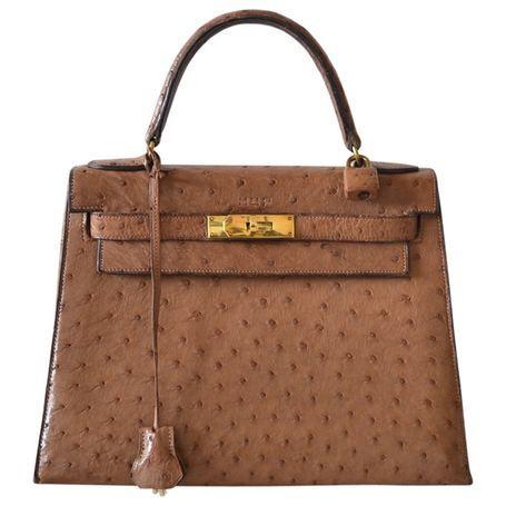 aae87316cb1 HERMES KELLY bag 20 Vintage Gray Ostrich Mini gold hdw Mint