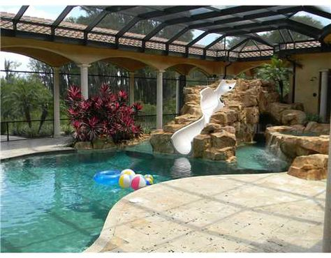 Beautiful Indoor Pool With A Water Slide 6 Athlete Homes With