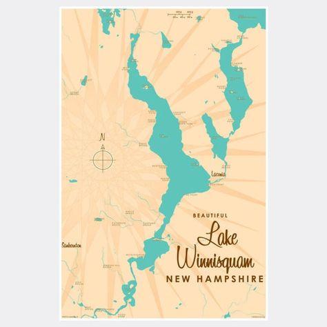 map of lake winnisquam nh Lake Winnisquam New Hampshire Paper Print Map Art Map Art map of lake winnisquam nh