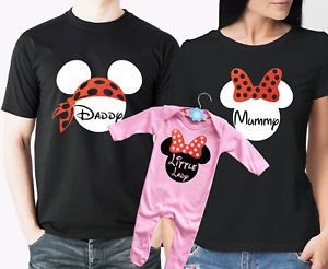 Mummy Mouse Daddy mouse family matching T-shirts and baby grow set