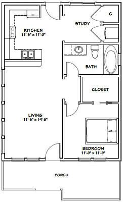 24x32 House 1 Bedroom 1 Bath Pdf Floor Plan 768 Sq Ft Model 1 Ebay Tiny House Floor Plans Small Floor Plans One Bedroom House