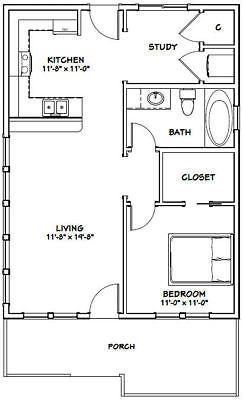 Details About 24x32 House 1 Bedroom 1 Bath Pdf Floor Plan