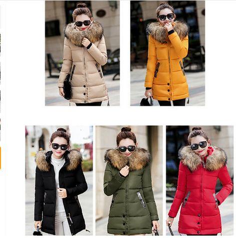 3e9b3580c Winter Jacket Women Big Fur Hooded Parka Long Coats Cotton Padded ...