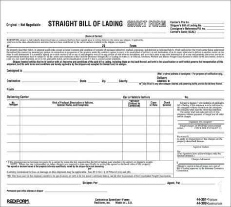 Bill Of Lading oficina Pinterest - bill of lading templates