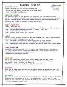 Skill Up My First Cv Template First Job Resume First