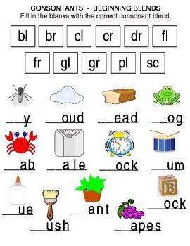 Consonants Beginning Blends Blends Worksheets Phonics Kindergarten English Worksheets For Kindergarten