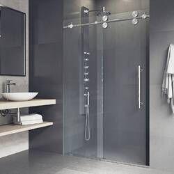 Aston Coraline Xl 56 W X 80 H Single Sliding Frameless Shower Door Wayfair In 2020 Shower Doors Sliding Shower Door Steel Shower Door