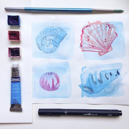 Beach Combing Sketchbook Page With Watercolours And Ink In 2019